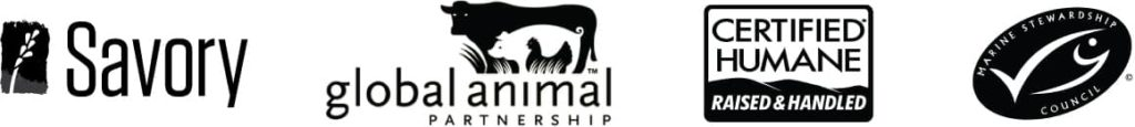Savory, Global Animal Partnership, Certified Humane Raised and Handled, Marine Partnership Council logos